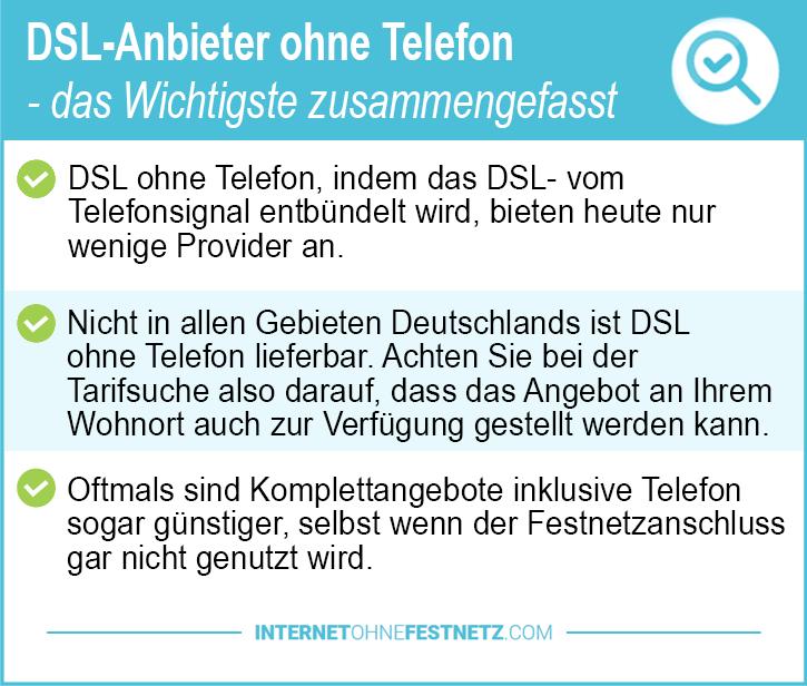 DSL Anbieter ohne Telefon