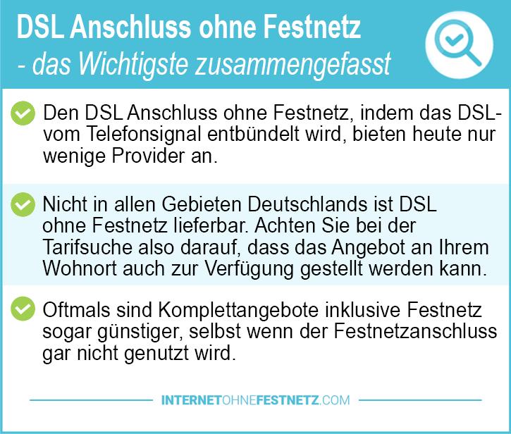 DSL Anschluss ohne Festnetz