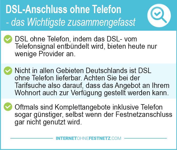 DSL Anschluss ohne Telefon