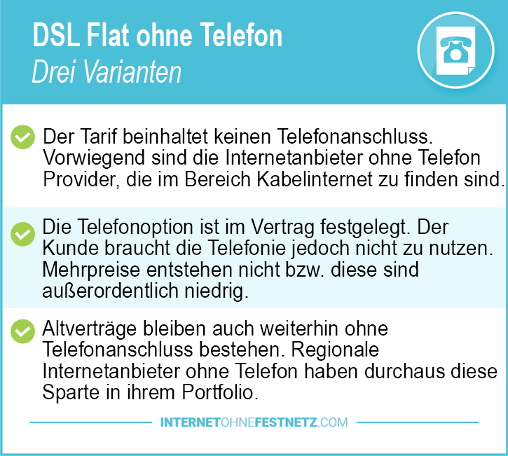 DSL Flat ohne Telefon Vergleich