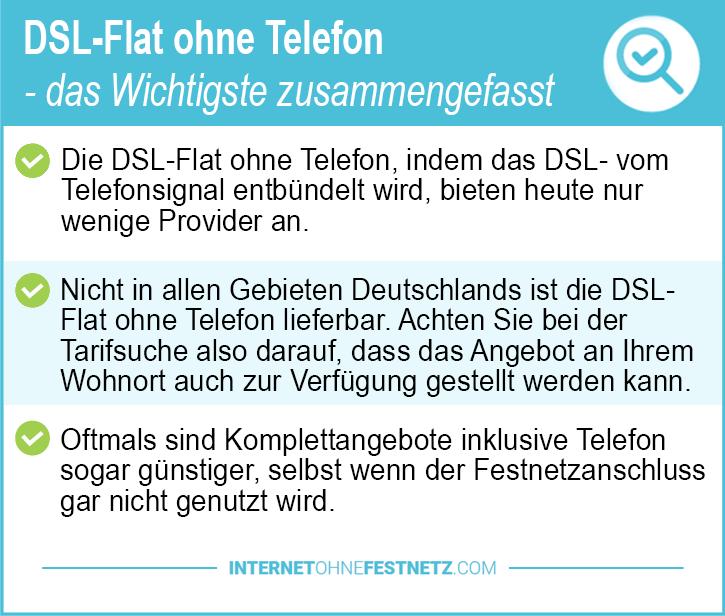 DSL Flat ohne Telefon