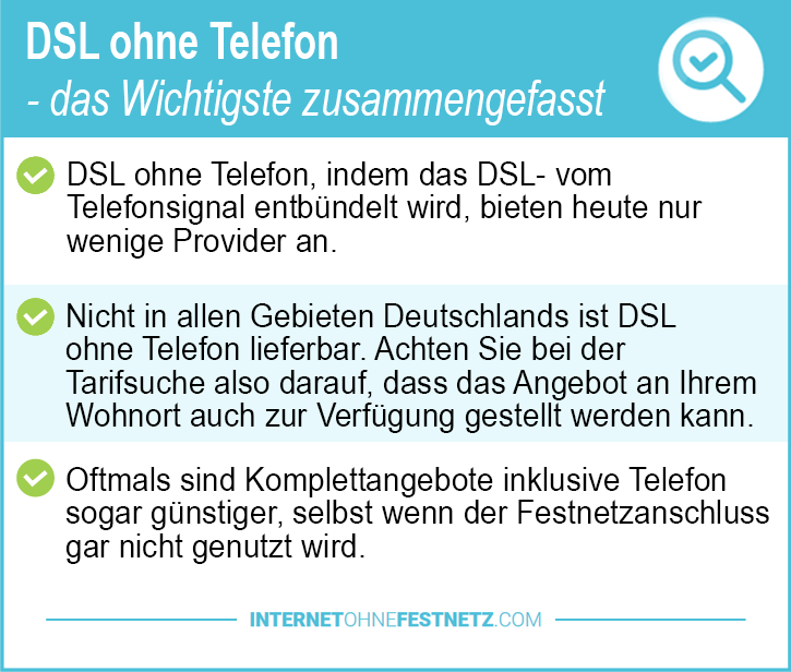 DSL ohne Telefon