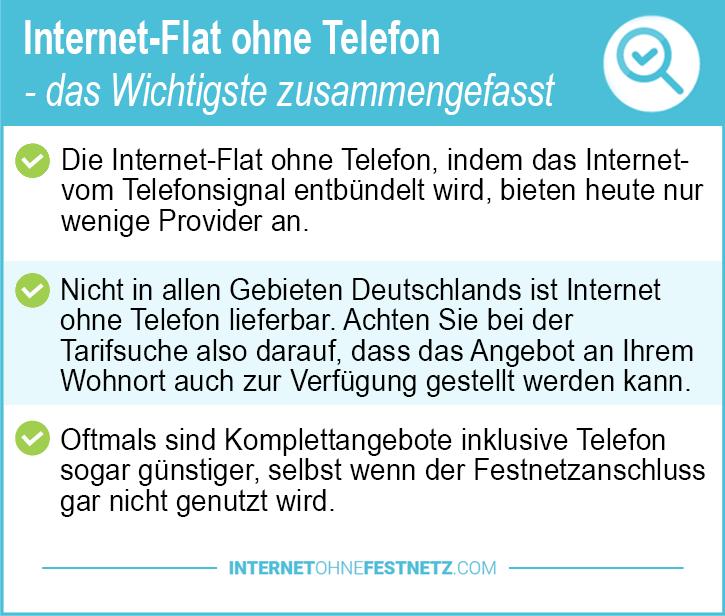 Internet Flat ohne Telefon