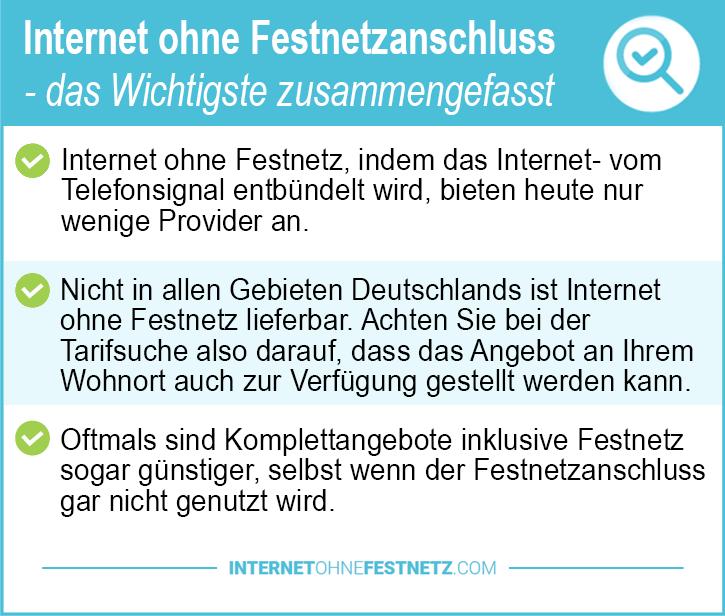 Internet ohne Festnetzanschluss