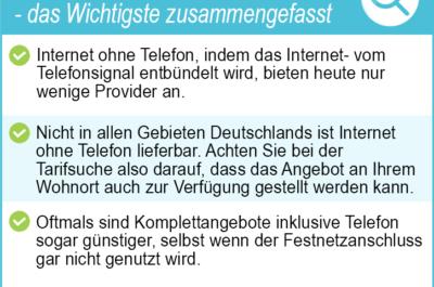 Internet ohne Telefon 2020 – ein Internetanbieter ohne Telefon leicht gefunden