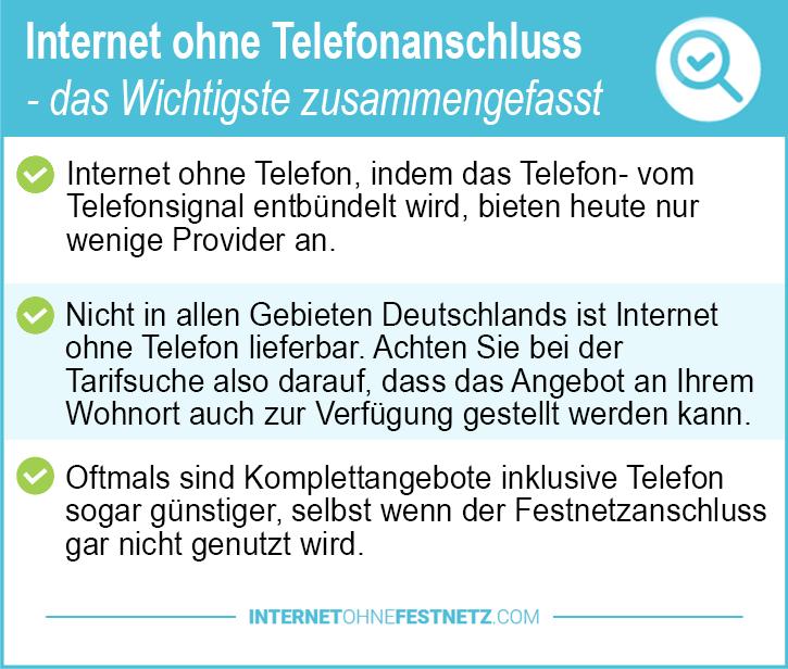 Internet ohne Telefonanschluss