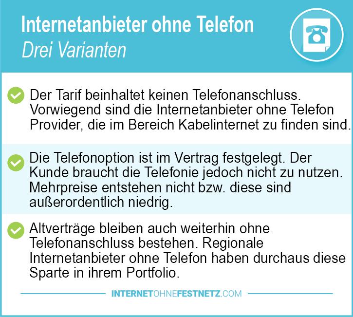 Internetanbieter ohne Telefon drei Varianten
