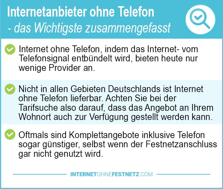 Internetanbieter ohne Telefon