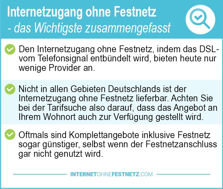 Internetzugang ohne Festnetz