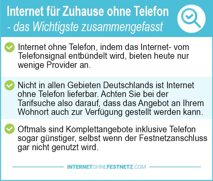 Internet für Zuhause ohne Telefon